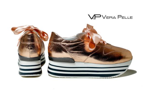 обувки Vera Pelle модел - Rom розово - злато кожа